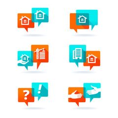 Real estate elements. Web set with speech bubbles