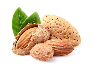 Almonds with leaf