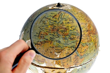 Magnified Europe on old rotating globe
