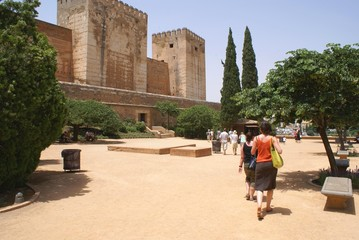 tourists. alhambra palace, granada, andalusia,spain