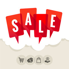 Red speech bubbles with the word SALE