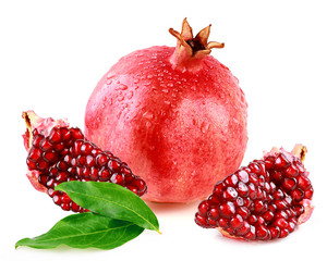 pomegranate with slice and leafs
