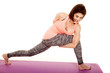 older woman yoga lunge twist