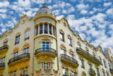 buildings with lace fronts of city Valencia  Spain