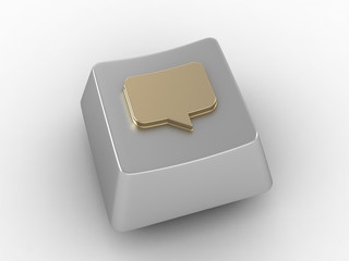 Chat bubble on silver button