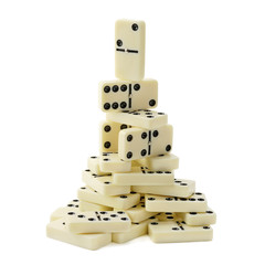 pyramid of dominoes isolated on white background