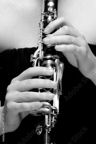Hands of Female Musician Playing Clarinet