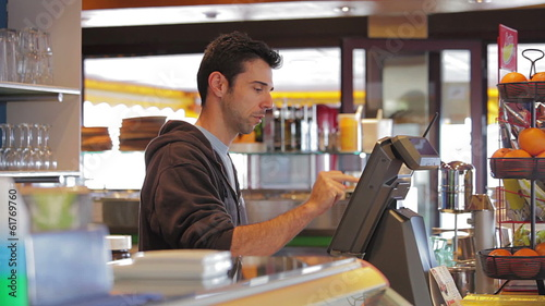 Man at cash register
