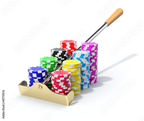 Roulette rake with the chips