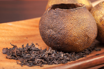 Pu-erh, Chinese dark tea packed in dried mandarins