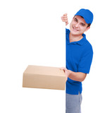 Courier in blue holding the box and blank board