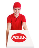pizza delivery man in red uniform holding the pizza box