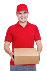 delivery man in red uniform holding the box