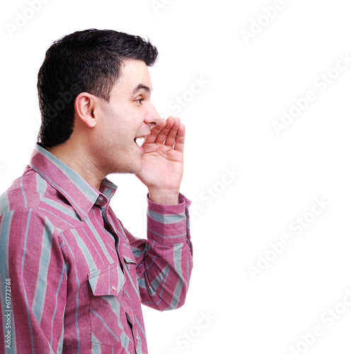 man whispering gossips against white background