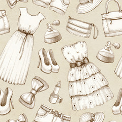 Seamless pattern with a drawings of dresses and accessories