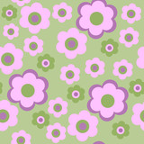 Seamless pattern with pink decorative flowers