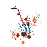 Colorful music background with saxophone