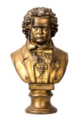 A dramatically lit bust of classical composer Beethoven