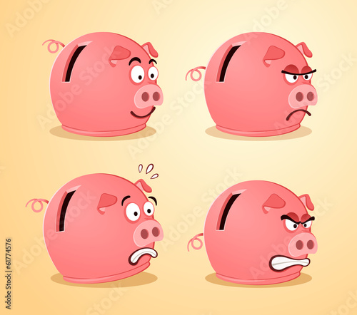 various expression of piggybank