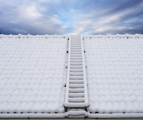 Roof ladder in snow