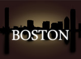 Boston skyline reflected with dramatic sky text illustration