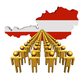 Lines of people with Austria map flag illustration