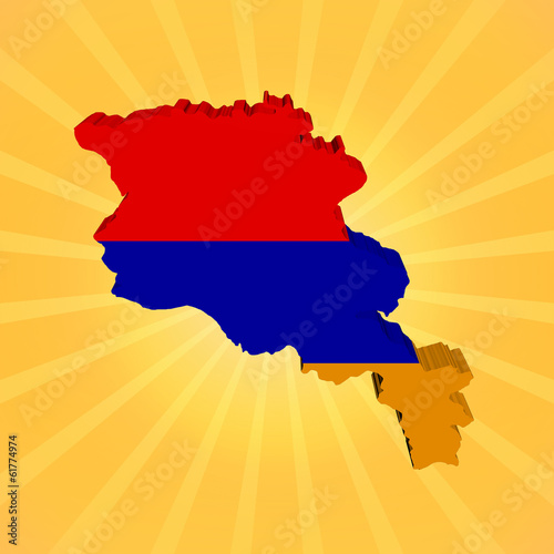 Armenia map flag on sunburst illustration
