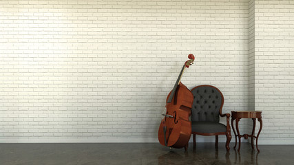 Interior scene with double bass