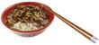 bol de riz et friture de larves de guêpes