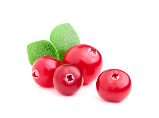 Ripe cranberries with leaves.