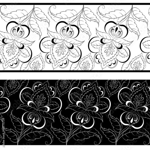 Seamless outline floral background
