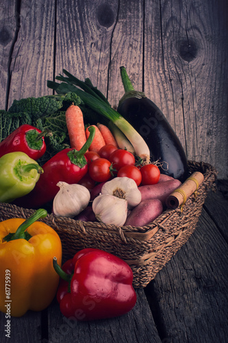 Fresh Organic Vegetable on wooden table