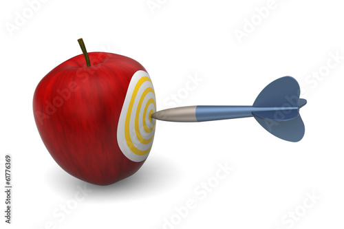 3D model of apple target stabbed by dart