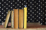 row of books,polka dots background, free copy space