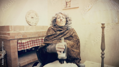 Grandma strange drinking antique