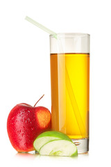 Fresh apple juice with straw isolated