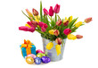Pot with pink and yellow tulips and gift box