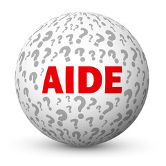 "Globe ""AIDE"" (questions support points d'interrogation FAQ info)"