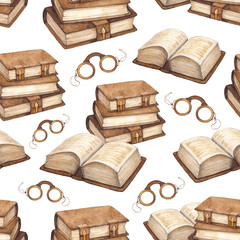 Watercolor vintage books illustration. Seamless pattern