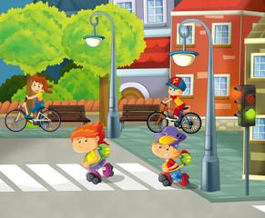 Cartoon city - illustration for the children
