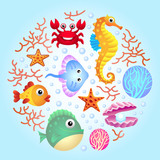 Sea creatures background 2