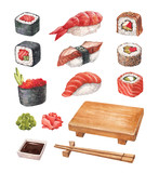 Delicious sushi. Watercollor illustrations collection