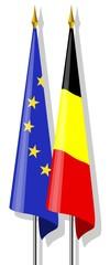 Drapeaux : Europe et Belgique ensemble