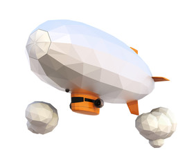 3D low poly blimp on white background. Clipping path included.