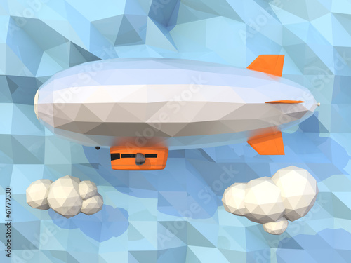 3D low poly blimp on metallic background.