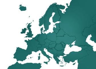 3D Europakarte türkis / weiß
