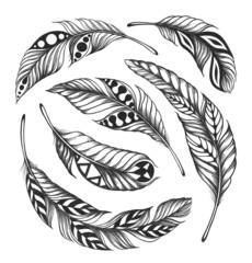 Black-on-white feather shaman circle ornament