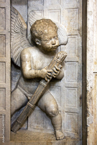 Statue of Angel on the wall of new chapel in Trogir Cathedral