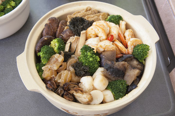 Poon Choi Cantonese Big Feast Bowl Closeup