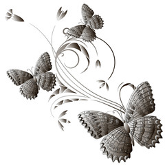 Vector card with a branch and butterflies.